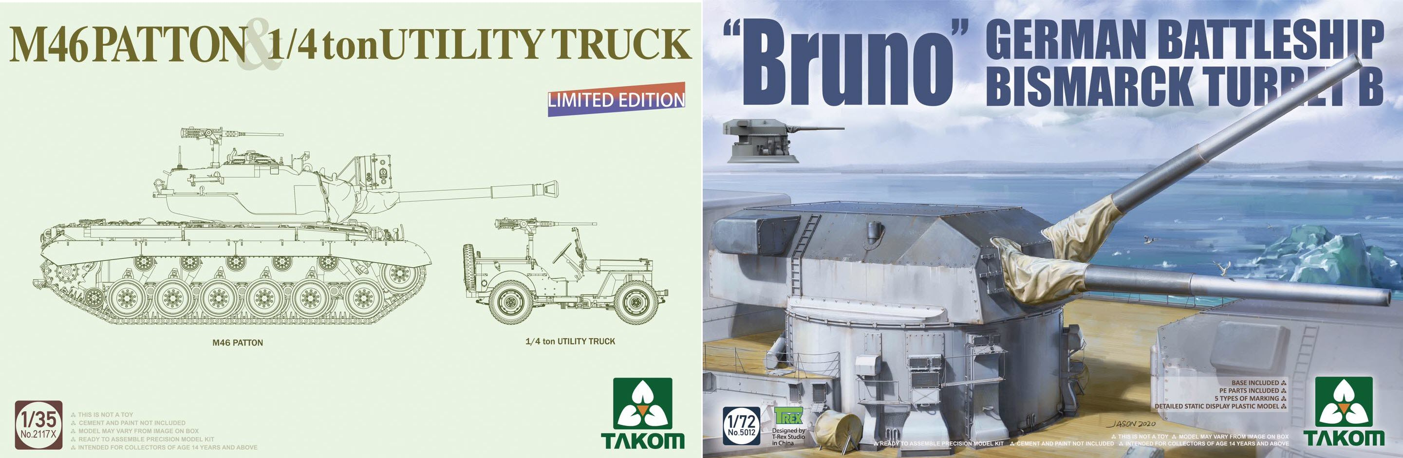 """A Patton & Jeep combo & """"Bruno"""" from the Bismarck via Takom in November"""